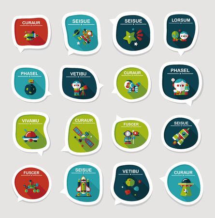 Space speech bubble flat design background set, eps10 Vector