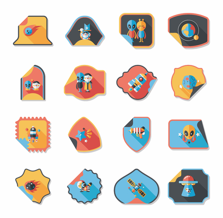 Space stickers banner flat design background set, eps10 Vector