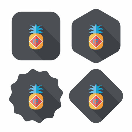 Chinese New Year flat icon with long shadow,eps10, when you send pineapple for your friends in Chinese New Year means you wish them will be wealthy this year.