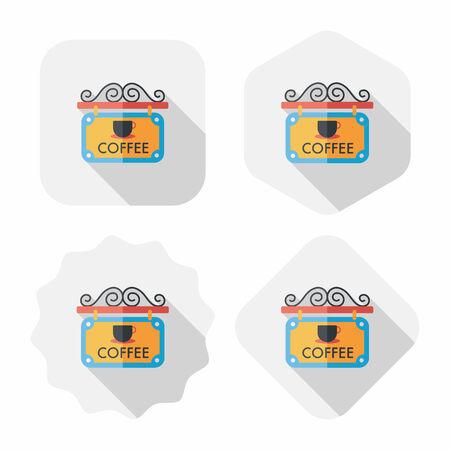 커피 숍 표지판이 긴 그림자가있는 평면 아이콘