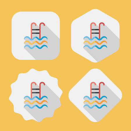 handrail: swimming pool flat icon with long shadow,