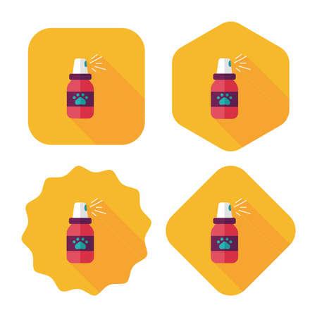 flea: Aerosoles de la pulga para mascotas icono plana wtih larga sombra, eps10