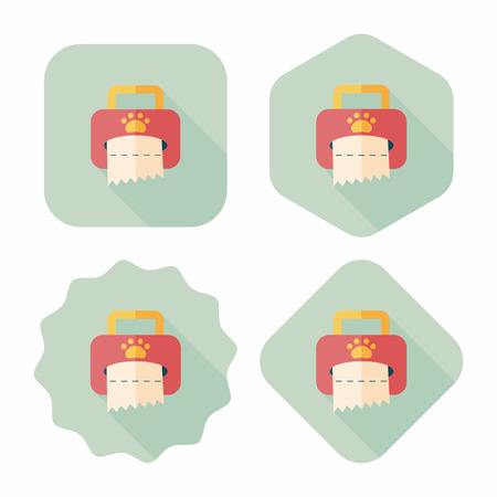 sniffle: Pet style tissue case flat icon with long shadow Illustration