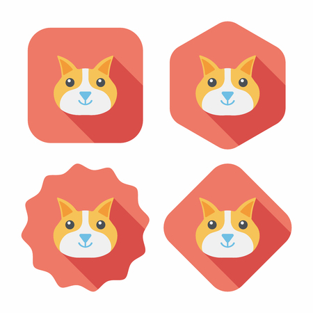 animal themes: Pet cat flat icon with long shadow Illustration