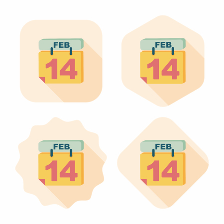 Valentines Day February fourteen flat icon with long shadow Vector