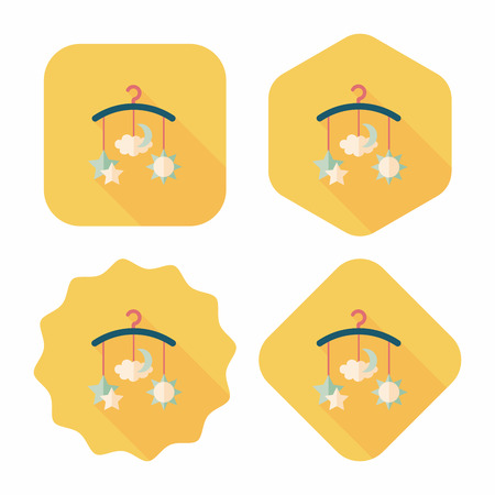 baby crib: Baby crib hanging toy flat icon with long shadow Illustration