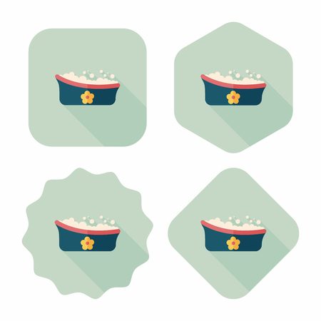 baby bath flat icon with long shadow Illustration