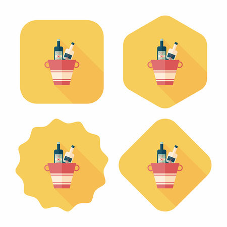 refrigerated: Ice bottle flat icon with long shadow Illustration
