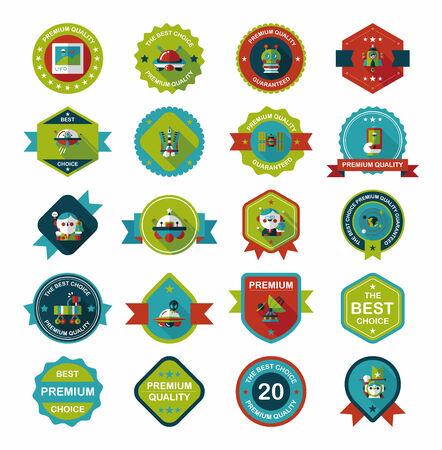 badge icon: Space badge banner flat design background set, eps10