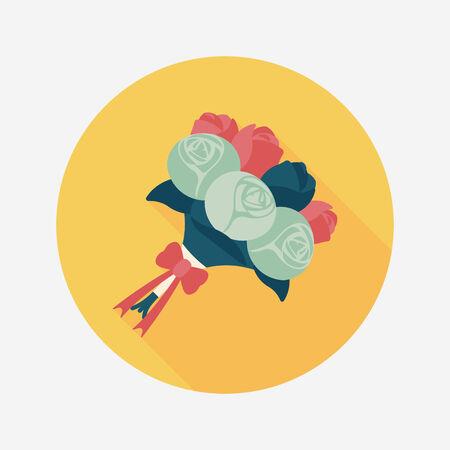 flower bouquet: bruiloft boeket bloemen vlakke icoon met lange schaduw Stock Illustratie