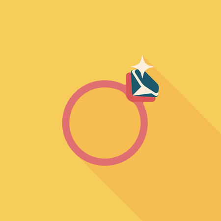 propose: Propose diamond ring flat icon with long shadow