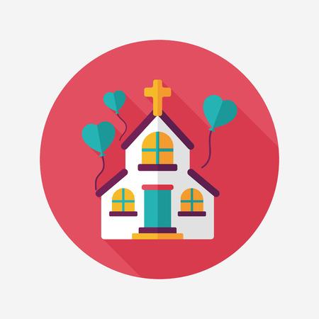 christian marriage: wedding church flat icon with long shadow Illustration