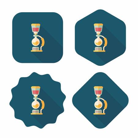 coffee maker: icono plana cafetera con larga sombra Vectores