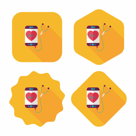 heart rate: heart rate sport equipment flat icon with long shadow