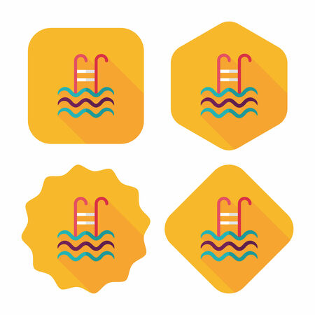 swimming pool water: swimming pool flat icon with long shadow Illustration