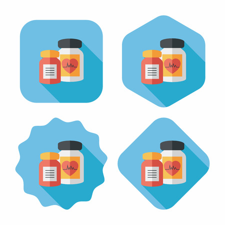 pressure bottle: supplements drug flat icon with long shadow