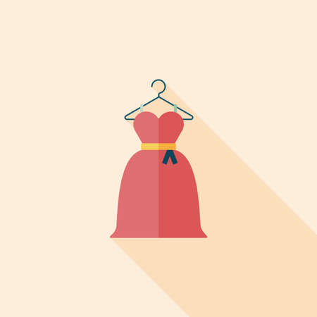 elegant dress: wedding dress flat icon with long shadow Illustration