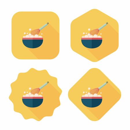 batidora: icono plana batidor de cocina con una larga sombra