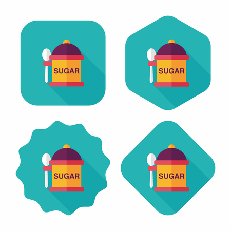 sweetening: kitchenware sugar flat icon with long shadow