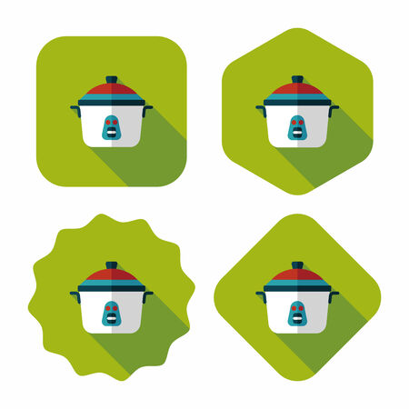 rice cooker: icono plana de cocina olla de arroz con una larga sombra