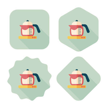 teakettle: kitchenware tea pot flat icon with long shadow