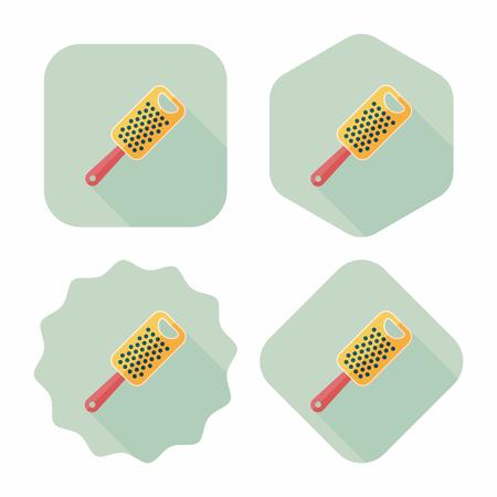 reibe: K�chenreibe Flach Symbol mit langen Schatten