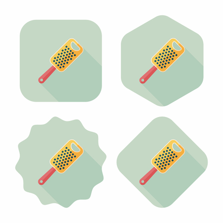 kitchenware grater flat icon with long shadow