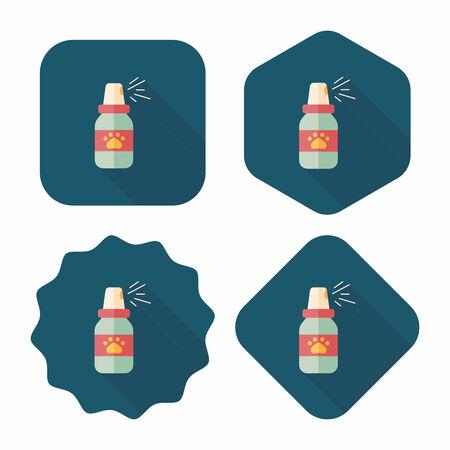 flea: Pet flea sprays flat icon with long shadow