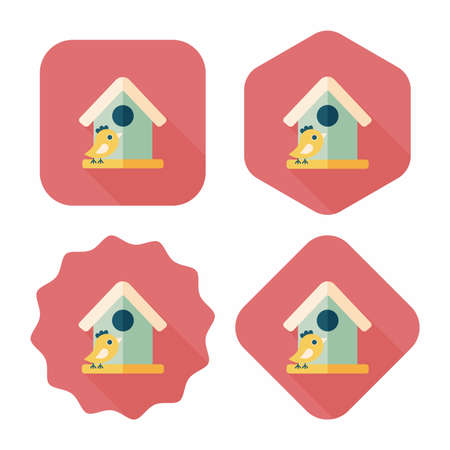 Pet bird house flat icon with long shadow Vector