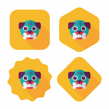 guid: Pet dog flat icon with long shadow Illustration