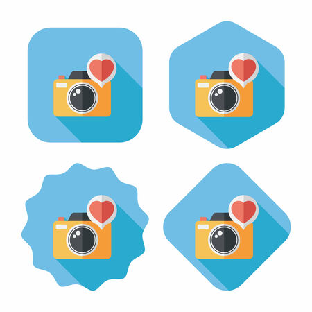 Valentines Day photo camera flat icon with long shadow Vector