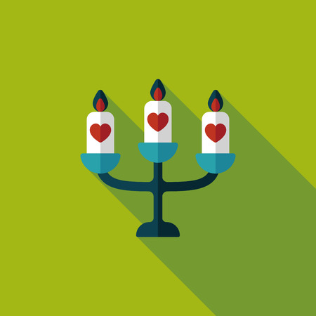 candleholder: wedding candle holder flat icon with long shadow