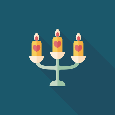 candle holder: wedding candle holder flat icon with long shadow