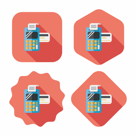 cashless payment: Shopping credit card machine flat icon with long shadow
