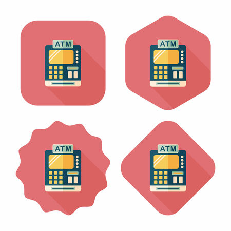 checkout counter: shopping cash register flat icon with long shadow