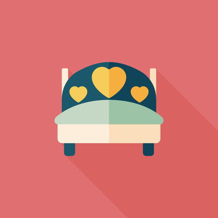 romance bed: wedding couple bed flat icon with long shadow Illustration