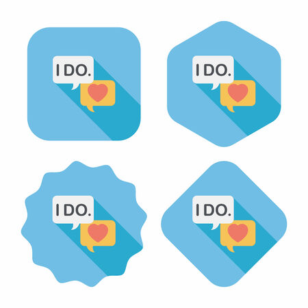 vow: wedding yes i do words flat icon with long shadow Illustration