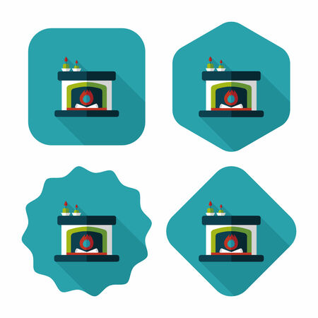 Christmas fireplace flat icon with long shadow,eps10 Vector