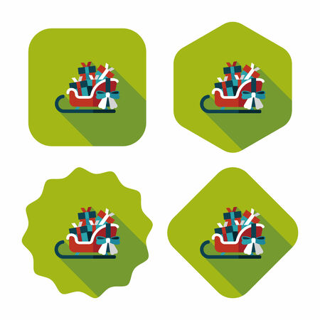 gift basket: Christmas sleigh gift basket flat icon with long shadow,eps10 Illustration