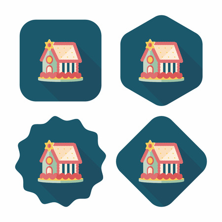 extravagant: Gingerbread house flat icon with long shadow,eps10
