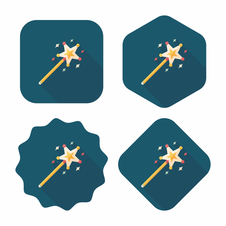 wand: magic wand flat icon with long shadow,eps10