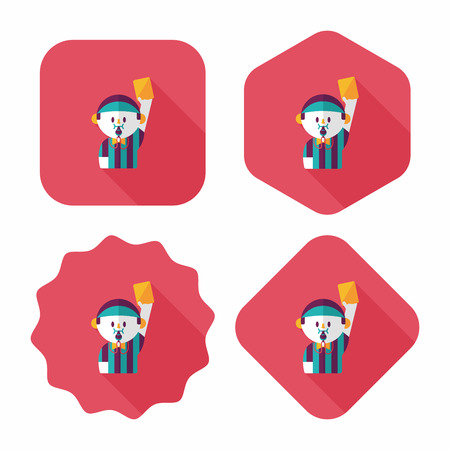 soccer referee: soccer referee flat icon with long shadow,eps10