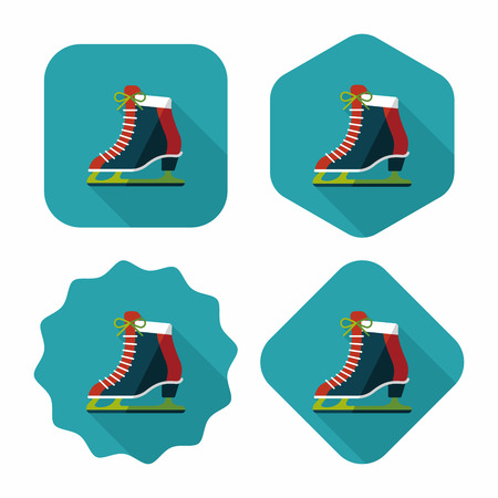 shoe laces: ice skate flat icon with long shadow,eps10