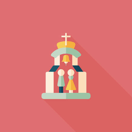 be married: wedding ceremony in church flat icon with long shadow Illustration