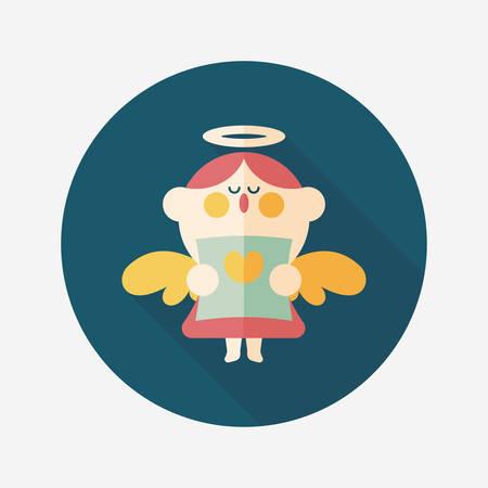 choir: Wedding angel choir flat icon with long shadow,eps10