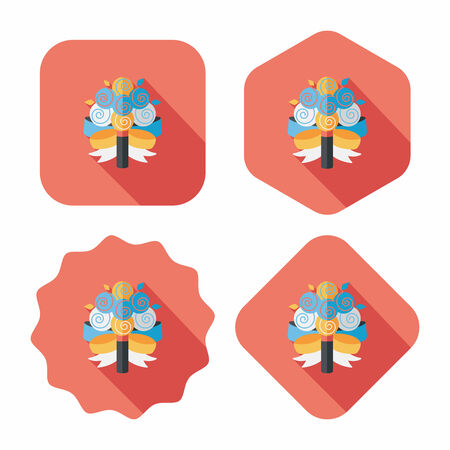 flower bouquet: wedding flower bouquet flat icon with long shadow,eps10