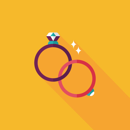 propose: Propose couple diamond ring flat icon with long shadow,eps10 Illustration