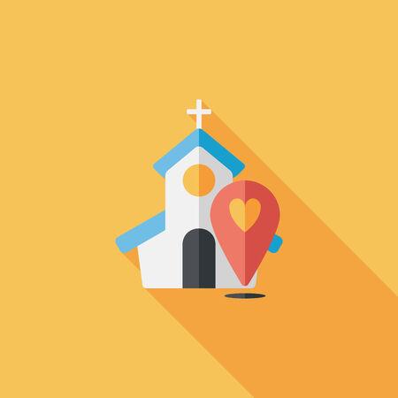 church service: wedding church flat icon with long shadow,eps10