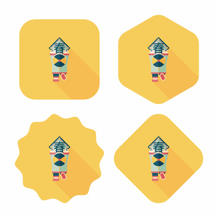 couplets: Chinese New Year flat icon with long shadow,eps10, the little boy to stick couplets, Chinese festival couplets means  wish Spring comes.