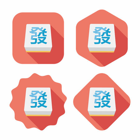 mahjong: Chinese mahjong flat icon with long shadow,eps10